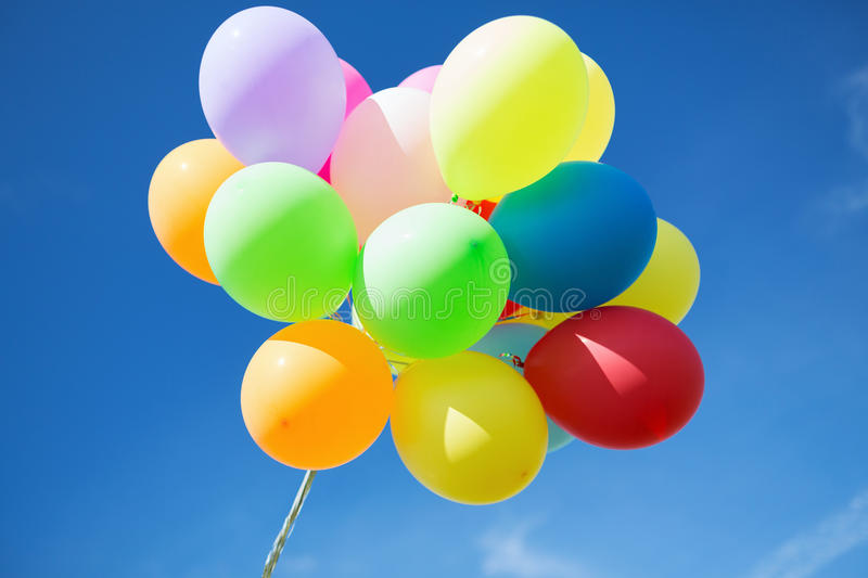 Lots Of Colorful Balloons In The Sky Stock Photo