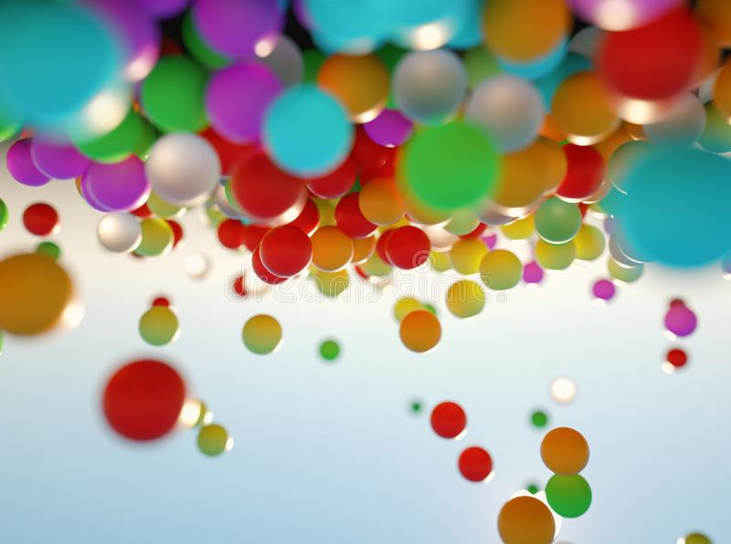 Colorful bouncing balls outdoors against blue sunny sky stock photo