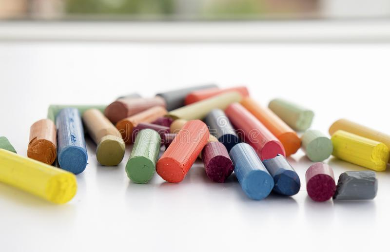 Lots of colorful crayons. royalty free stock photo