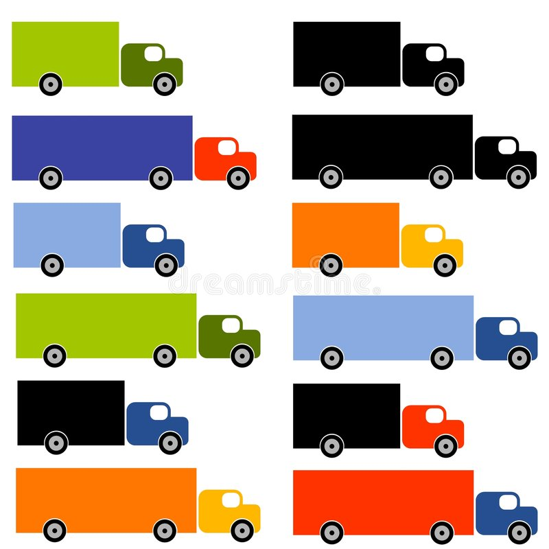 Lots of Colourful Trucks. An illustration featuring an assortment of trucks in all sorts of sizes and colours royalty free illustration