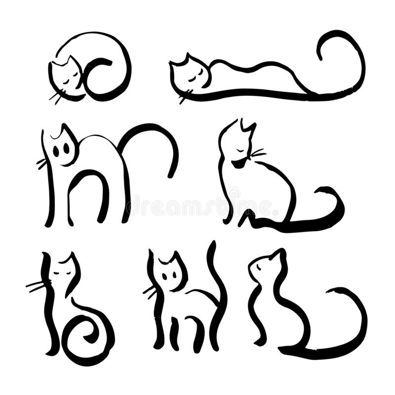 Lots of doodles hand drawn outline line cats royalty free stock photos