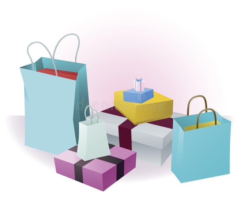 Lots Einkaufen oder Geschenke lizenzfreie abbildung