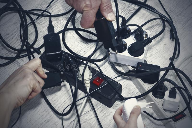 Lots of electrical outlets-enabled devices. Power saving.  royalty free stock images