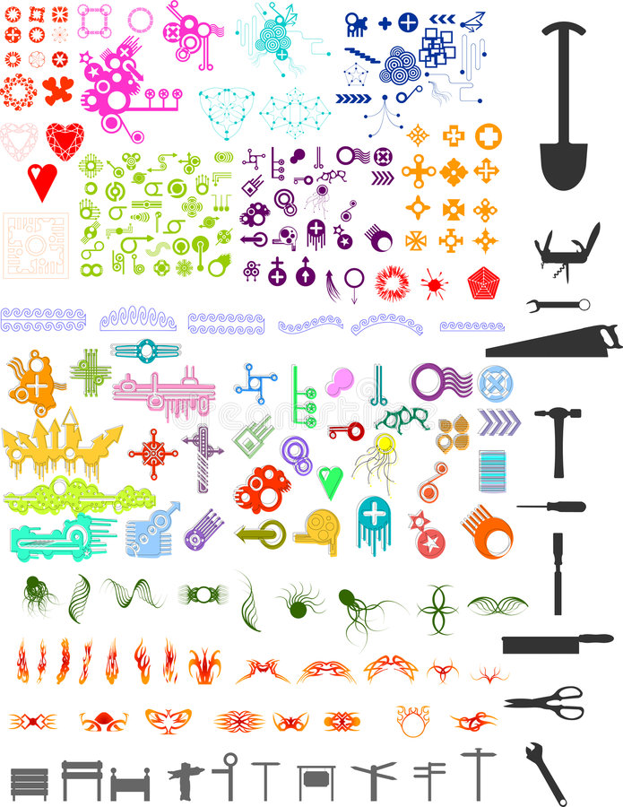 Lots of elements. Lots of shape illustrations including tools,flames,tottos,signposts,scrolls etc vector illustration