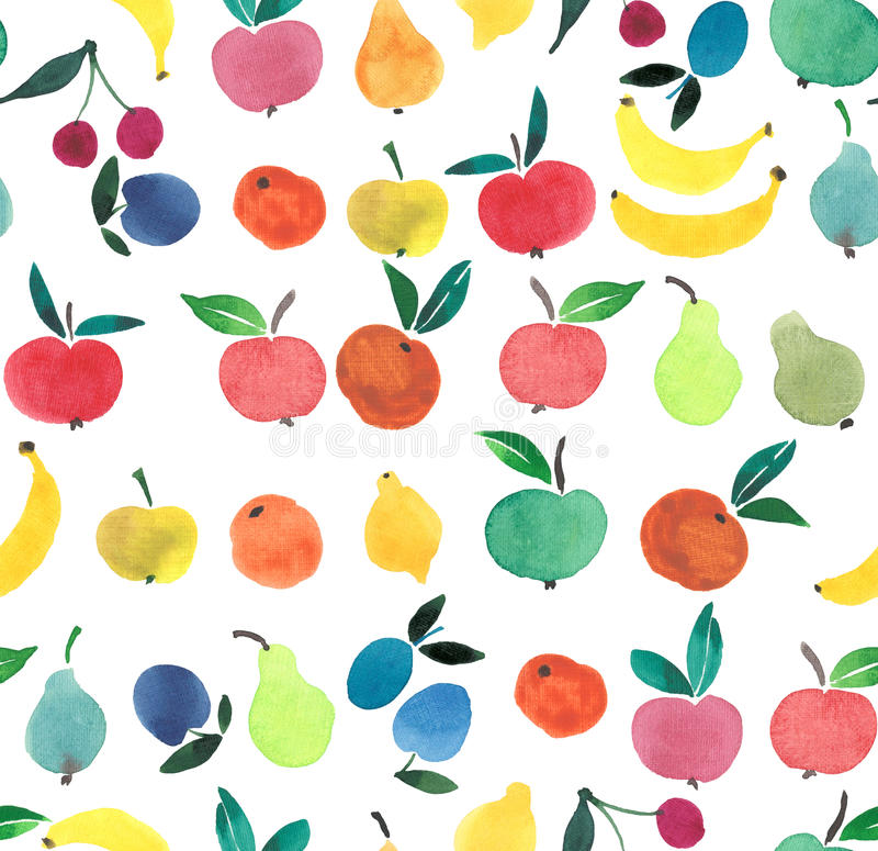 Lots of fruits and berries watercolor hand sketch royalty free stock images