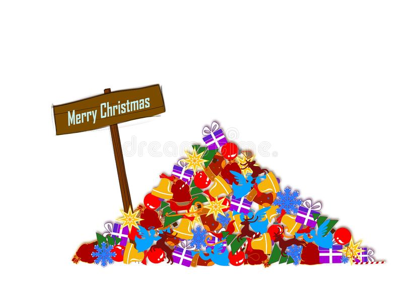 A lots of gifts and Merry Christmas. A lots of different gifts, christmas symbols and a sign with the words of Merry Christmas. Isolated image royalty free illustration