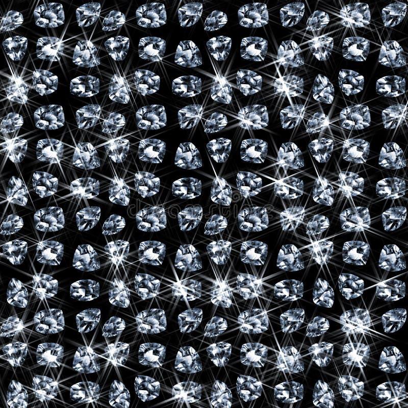 Lots glänzende Diamanten auf Schwarzem lizenzfreie abbildung