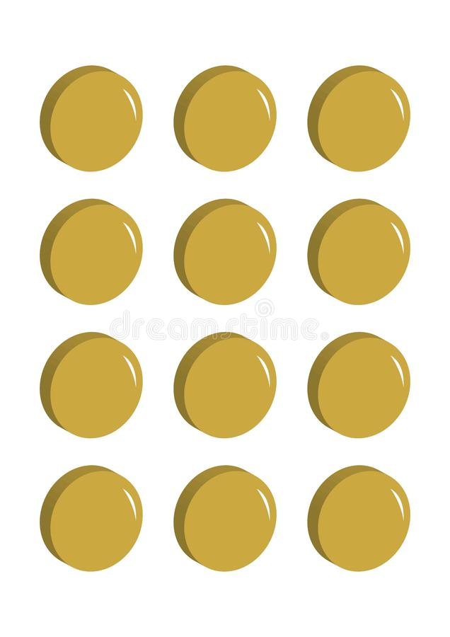 Lots of gold coins in a row vector illustration stock illustration