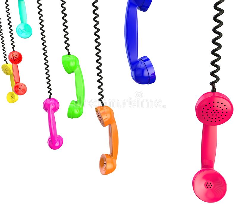 Lots of handsets with black wire. White isolated background stock illustration