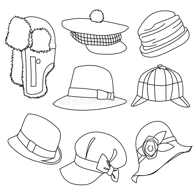 Line Art Design Illustration : Lots of hats line style drawing stock illustration