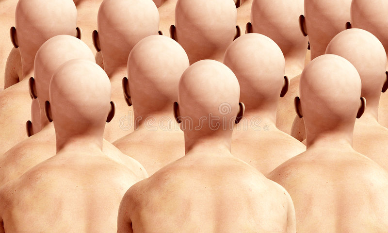 Lots Of Head Backs. A lot of duplicated male backs, suitable for conformity concepts royalty free stock images