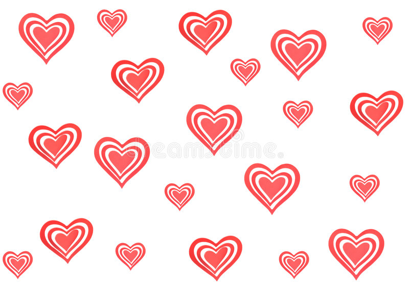 Lots of hearts. Big red hearts isolated on white royalty free illustration