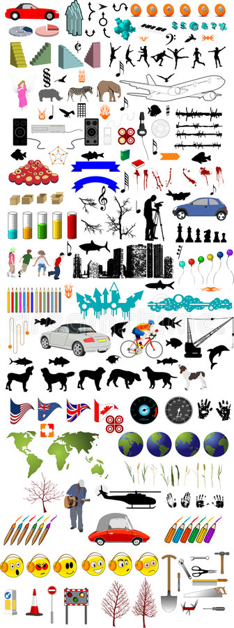 Lots of illustration elements including cars people animals trees shapes and lots lots more stock illustration