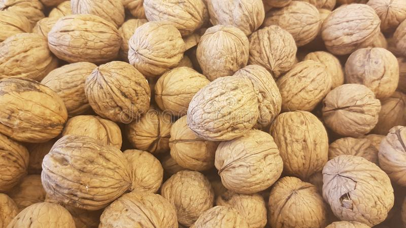 Lots of inshell walnuts texture. Photo about lots of brown inshell walnuts texture background in a market royalty free stock photography