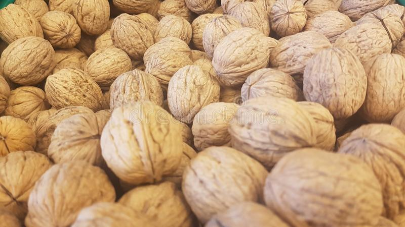 Lots of inshell walnuts texture. Photo about lots of brown inshell walnuts texture background in a market stock photography