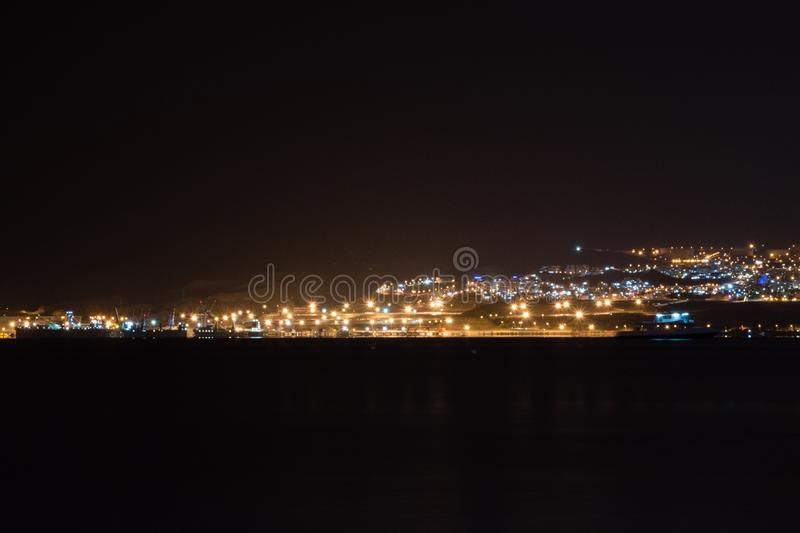 Lots of lights in Eilat city. View of Eilat in Israel from Aqaba in Jordan.  royalty free stock images