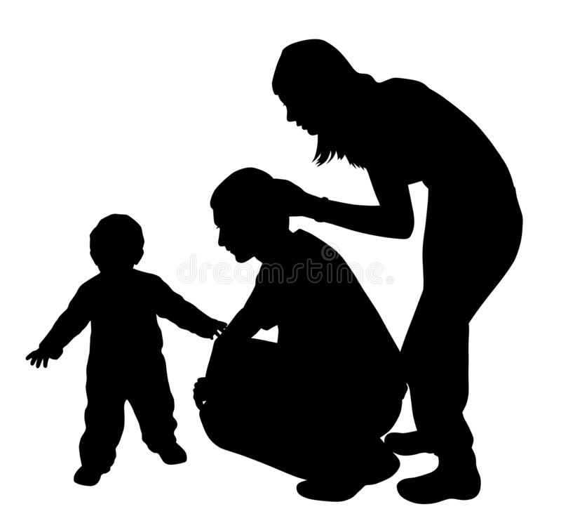 Lots of love Happy family. Illustration of lots of love happy family. Affectionate father is looking at his baby walking while mother caressing father. Isolated stock illustration