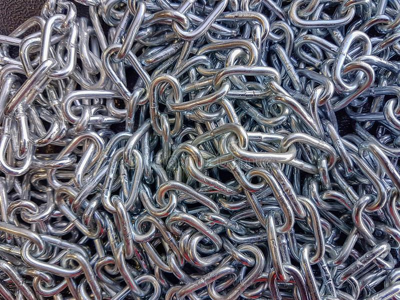 Metal chain iron texture background, chrome strong protect stock photography
