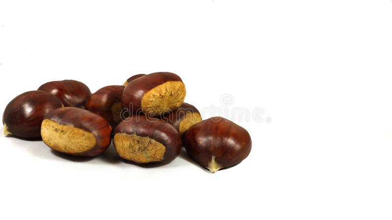 Lots of Parede class chestnuts isolated with white background stock photo