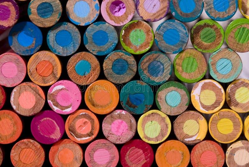 Lots of pencil crayon ends. Lots of colorful pencil crayon ends stock photos