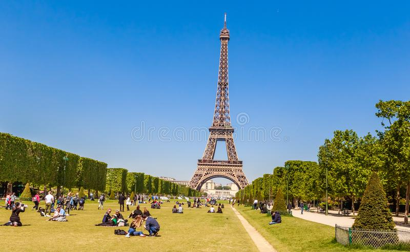 Lots of people relaxing and having fun on Champ de Mars stock photos
