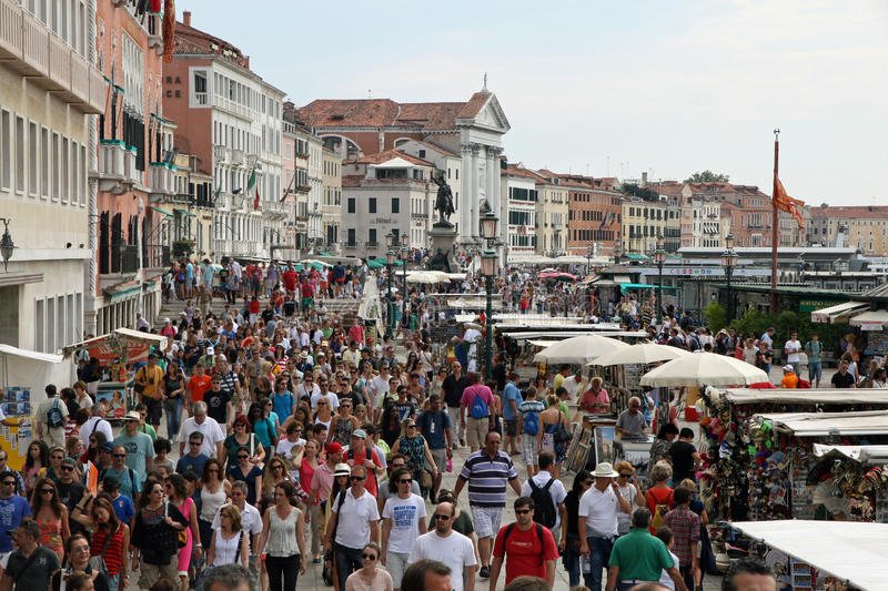 Lots of people and tourists around Venice. In Italy stock image