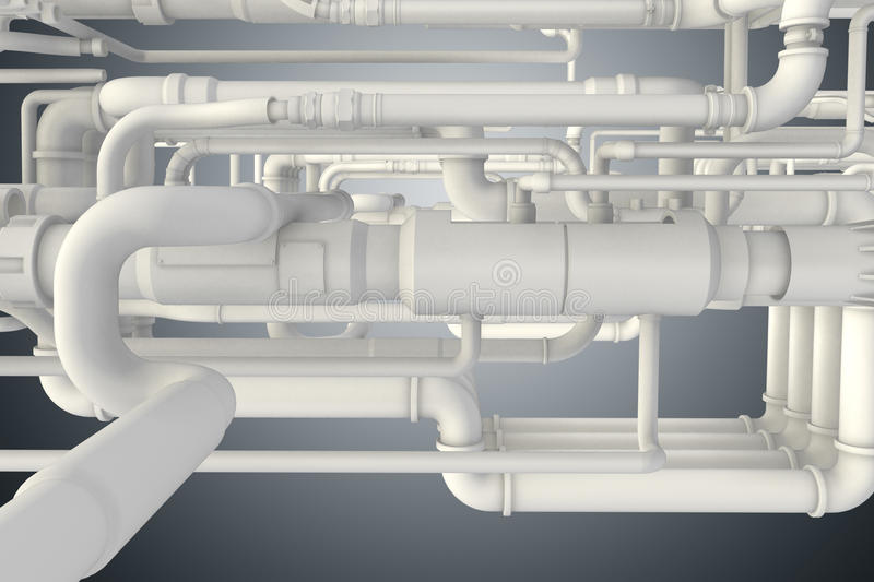 The lots of piping at the plant 3d rendering. Lots of piping at the plant 3d rendering stock illustration