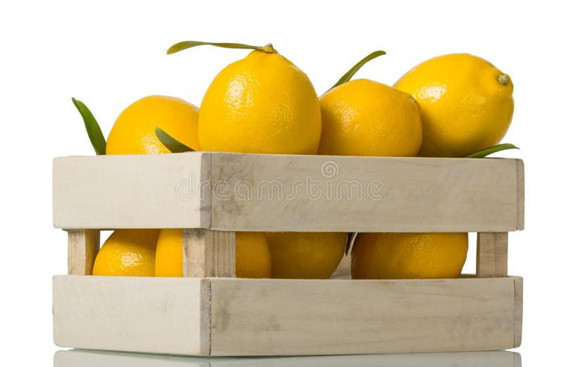 Lots of ripe yellow lemons in wooden box isolated on white stock photos
