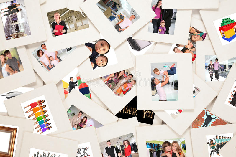 Lots of slides with people. Collage royalty free stock images