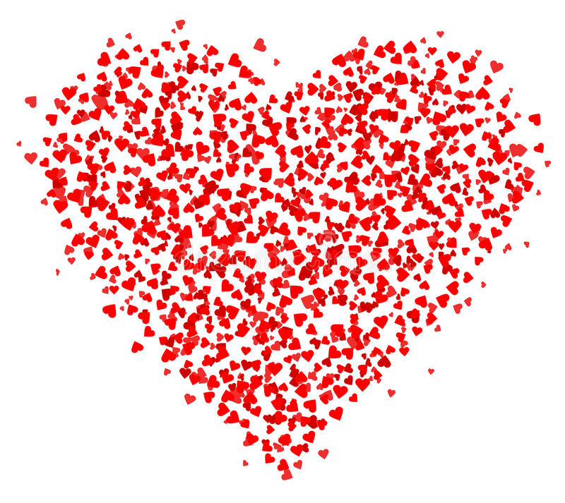 Lots of small Red Hearts composed in one heart shape, decoration for greeting cards about love. stock illustration