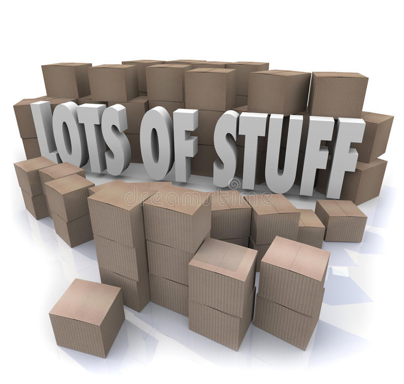 Lots of Stuff Cardboard Boxes Messy Disorganized Storage Stockpile stock illustration