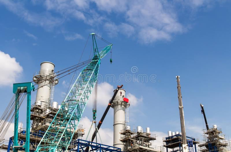Lots of tower Construction site with cranes and building with bl stock photos