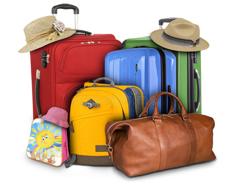Lots of Travelling Suitcases. Luggage consisting of large suitcases, rucksack and travel bag isolated on white background royalty free stock photos