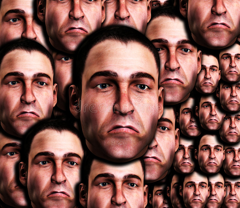 Lots Of Very Sad Male Faces 3 Royalty Free Stock Photography