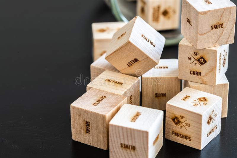 Wooden cubes with writings stock photos