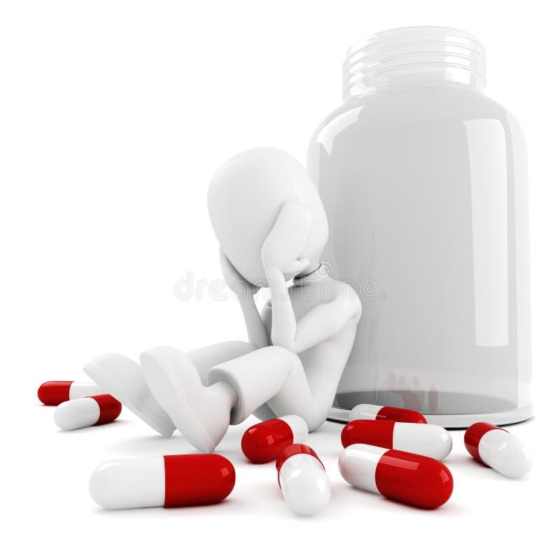 lott 3d man pills stock illustrationer