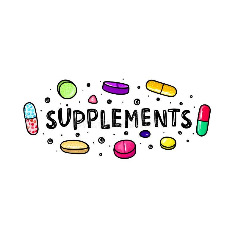 Lott av färgrika piller och kapslar dietary supplements Sund livsstil Alkoholmarkörstil klotter stock illustrationer