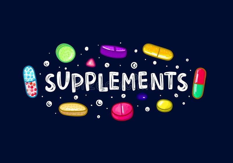 Lott av färgrika piller och kapslar dietary supplements Sund livsstil Alkoholmarkörstil klotter vektor illustrationer