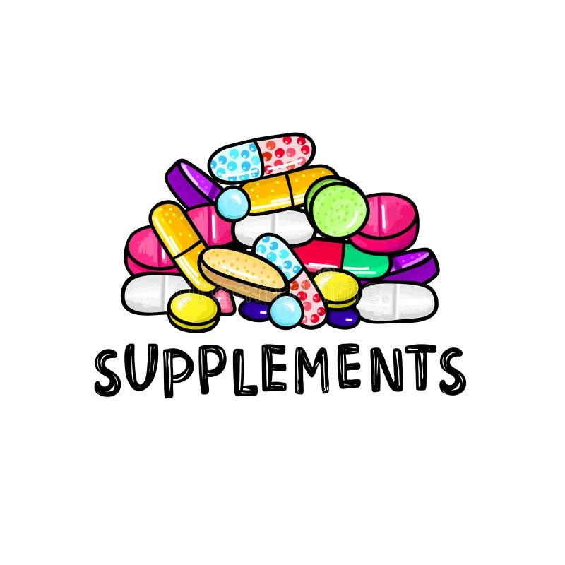 Lott av färgrika piller och kapslar dietary supplements Sund livsstil Alkoholmarkörstil klotter royaltyfri illustrationer