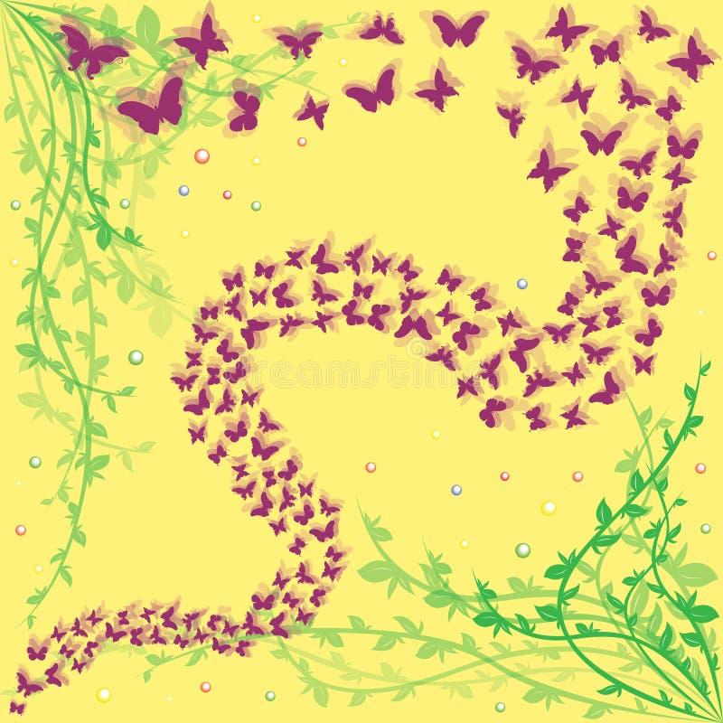 Lott av fjärilar på en blom- bakgrund stock illustrationer