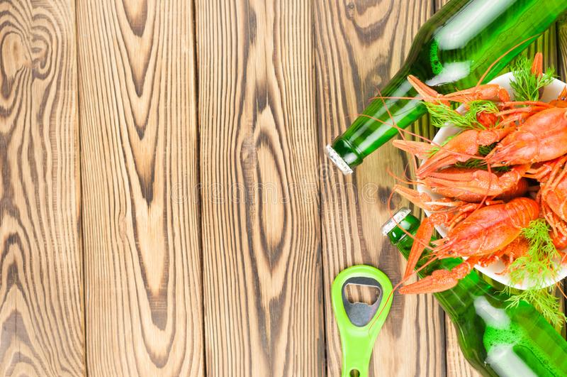 Lott av kokta röda kräftor och grön ny dill i den vita keramiska bunken bredvid två fulla flaskor av öl- och metallflasköppnaren royaltyfri bild