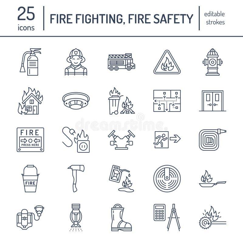 Lotta contro l'incendio, linea piana icone dell'attrezzatura di protezione antincendio Pompiere, estintore dell'autopompa antince illustrazione di stock