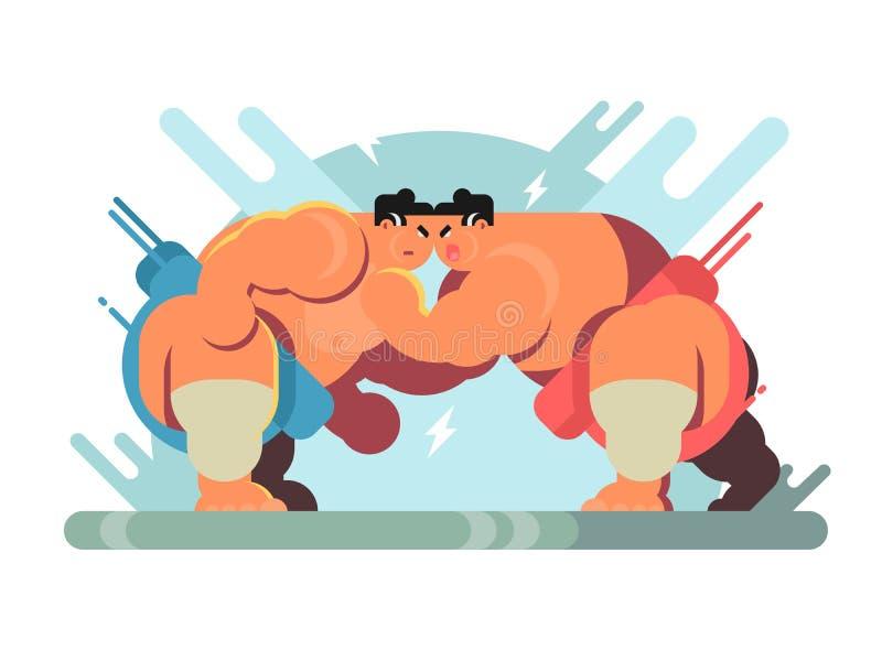 Lotta degli atleti di sumo royalty illustrazione gratis