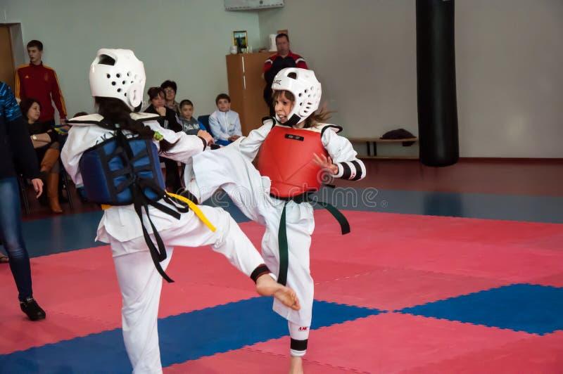 Lotta delle ragazze nel taekwondo immagine stock libera da diritti