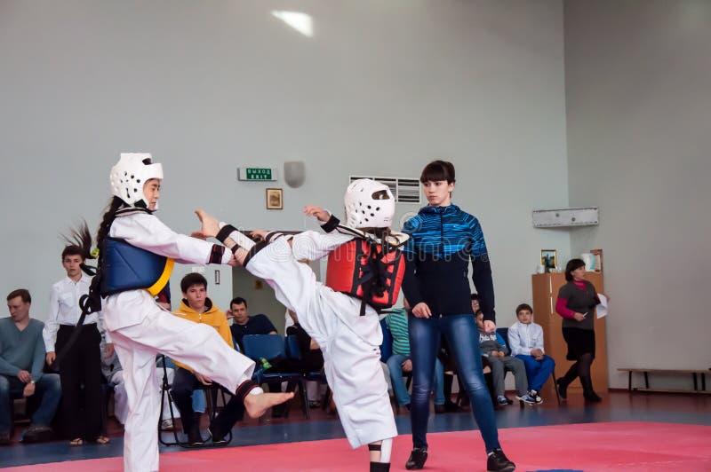 Lotta delle ragazze nel taekwondo immagini stock libere da diritti