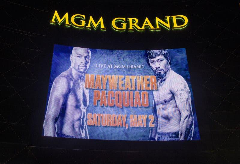 Lotta di Manny Pacquiao e di Floyd Mayweather fotografie stock