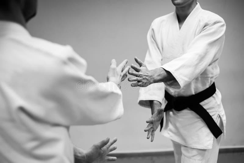 Lotta fra due combattenti di aikidi in una palestra di sport immagine stock libera da diritti