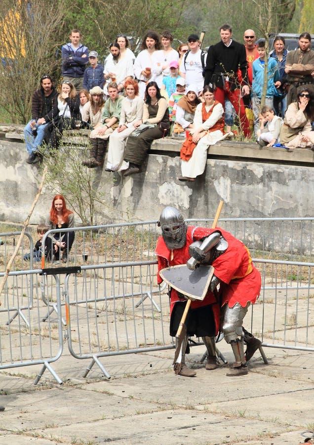 Lotta medievale dei cavalieri fotografia stock