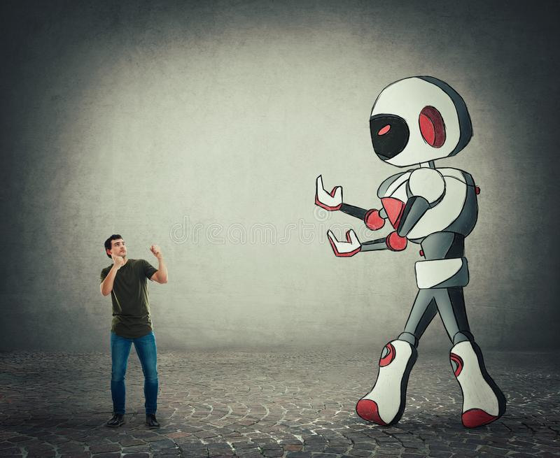 Lotta minuscola dell'uomo contro intelligenza artificiale del droid gigante royalty illustrazione gratis