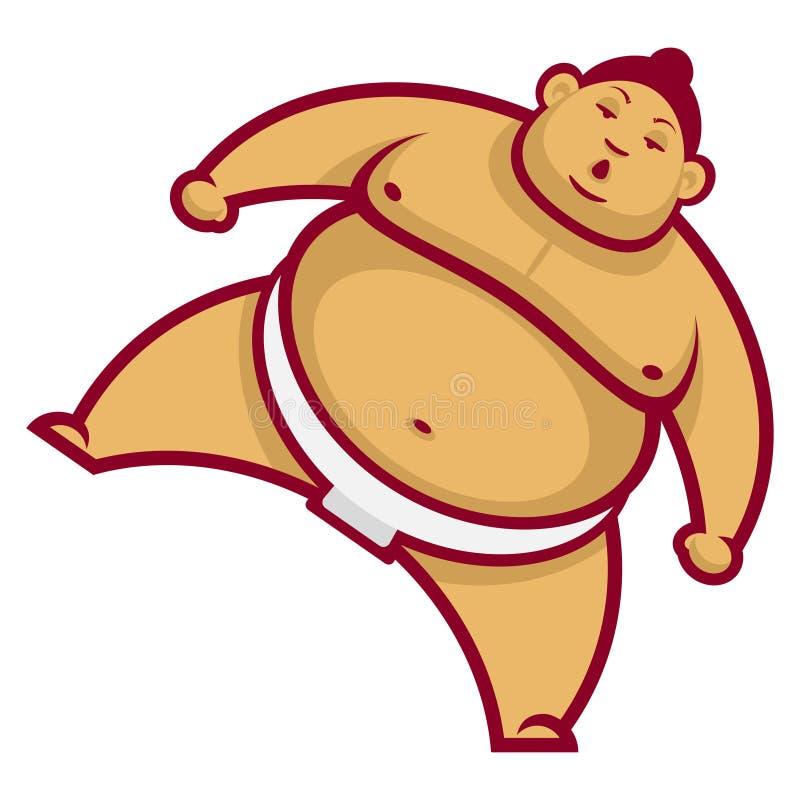 Lottatore di sumo con la gamba sollevata royalty illustrazione gratis
